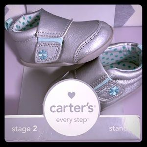 New Carters Stage 2 girls silver & teal sneakers